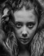 Portrait with fur. Photo tests. A. Krivitsky's Photographic Theater.